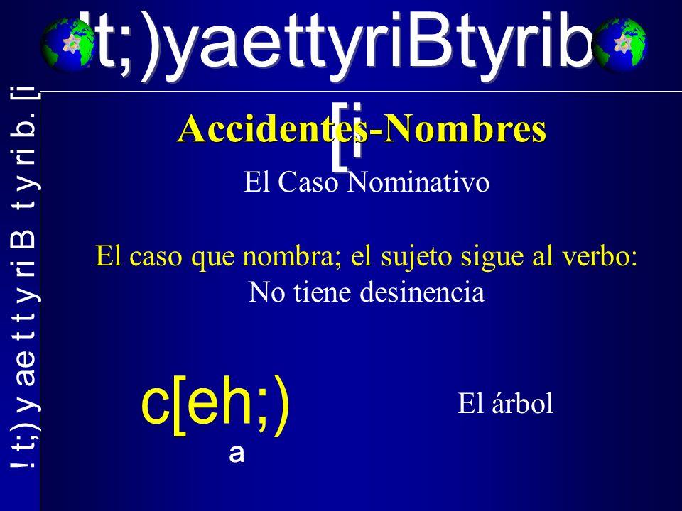 El Caso Nominativo El caso que nombra; el sujeto sigue al verbo: No tiene desinencia ª El árbol