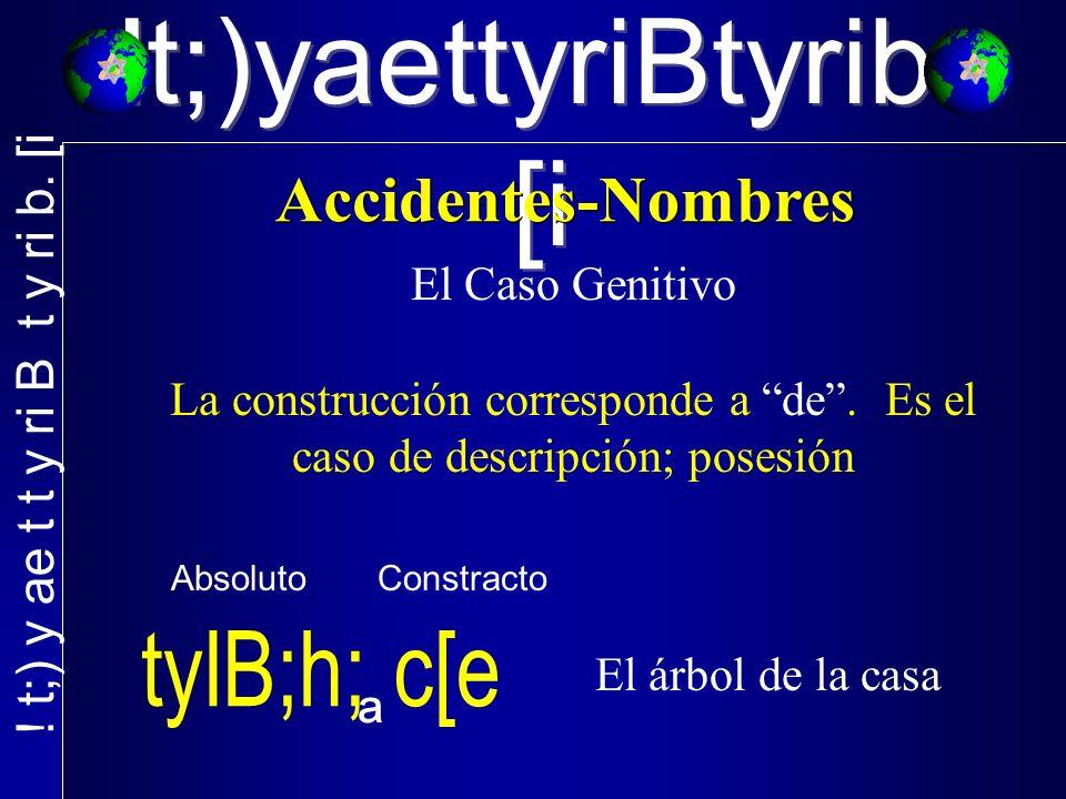 !t;)yaettyriBtyrib. [i El Caso Genitivo La construcción corresponde a de.