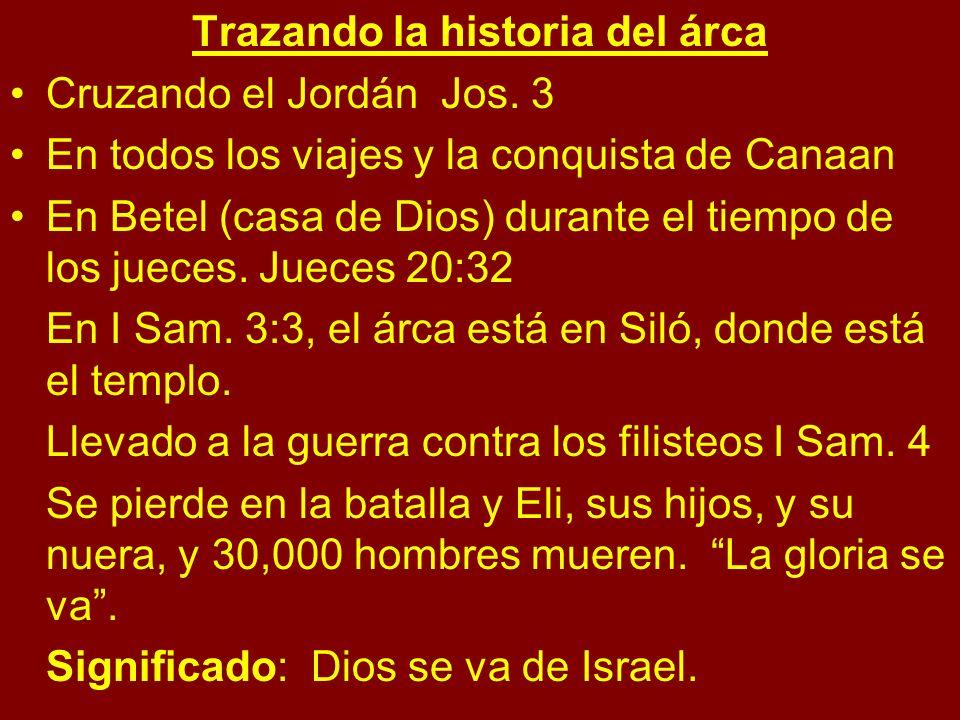 Trazando la historia del árca Cruzando el Jordán Jos. 3 En todos los viajes y la conquista de Canaan En Betel (casa de Dios) durante el tiempo de los