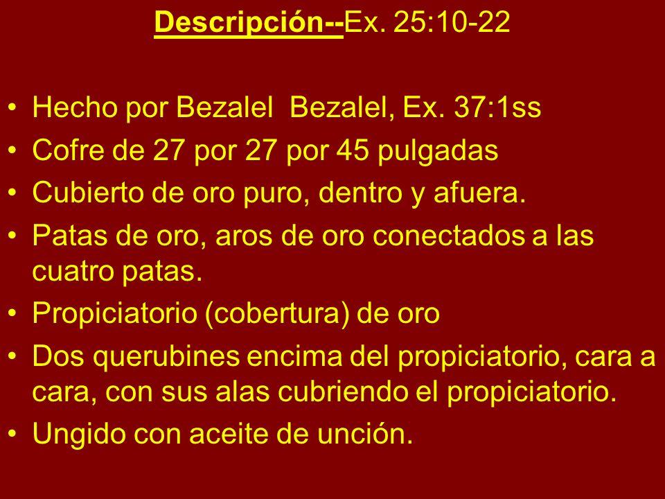 Descripción--Ex. 25:10-22 Hecho por Bezalel Bezalel, Ex. 37:1ss Cofre de 27 por 27 por 45 pulgadas Cubierto de oro puro, dentro y afuera. Patas de oro
