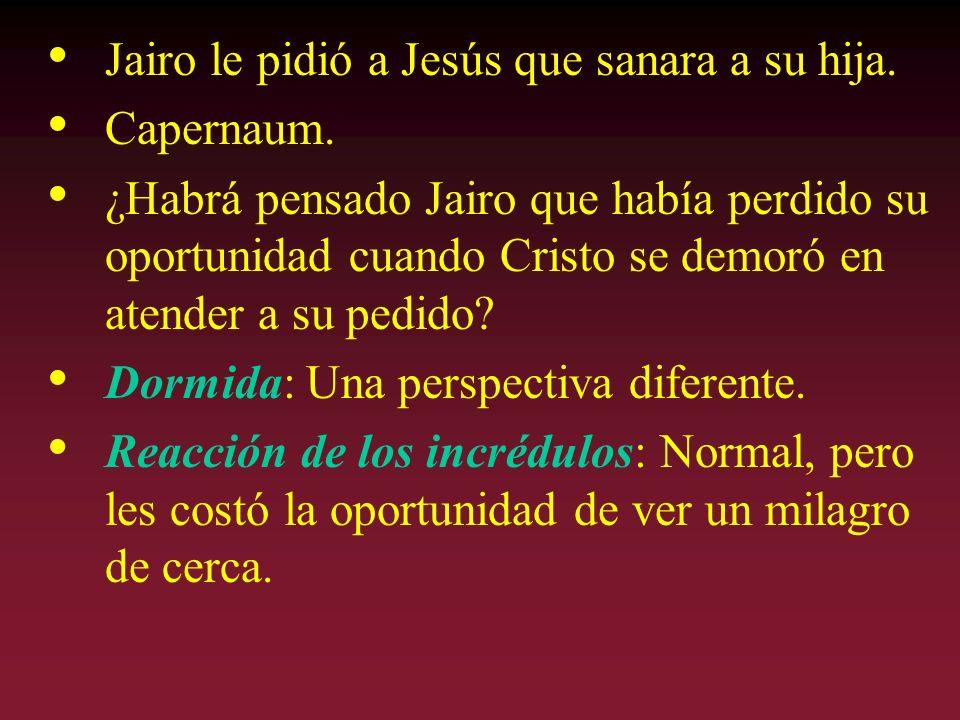 Jairo le pidió a Jesús que sanara a su hija. Capernaum. ¿Habrá pensado Jairo que había perdido su oportunidad cuando Cristo se demoró en atender a su