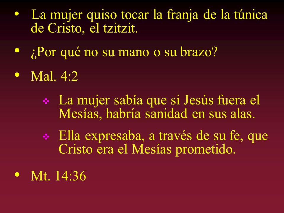 La mujer quiso tocar la franja de la túnica de Cristo, el tzitzit. ¿Por qué no su mano o su brazo? Mal. 4:2 La mujer sabía que si Jesús fuera el Mesía