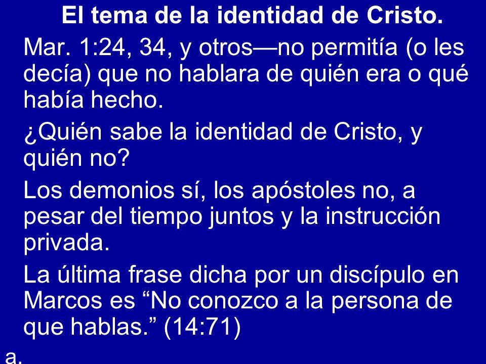 El tema de la identidad de Cristo. Mar. 1:24, 34, y otrosno permitía (o les decía) que no hablara de quién era o qué había hecho. ¿Quién sabe la ident