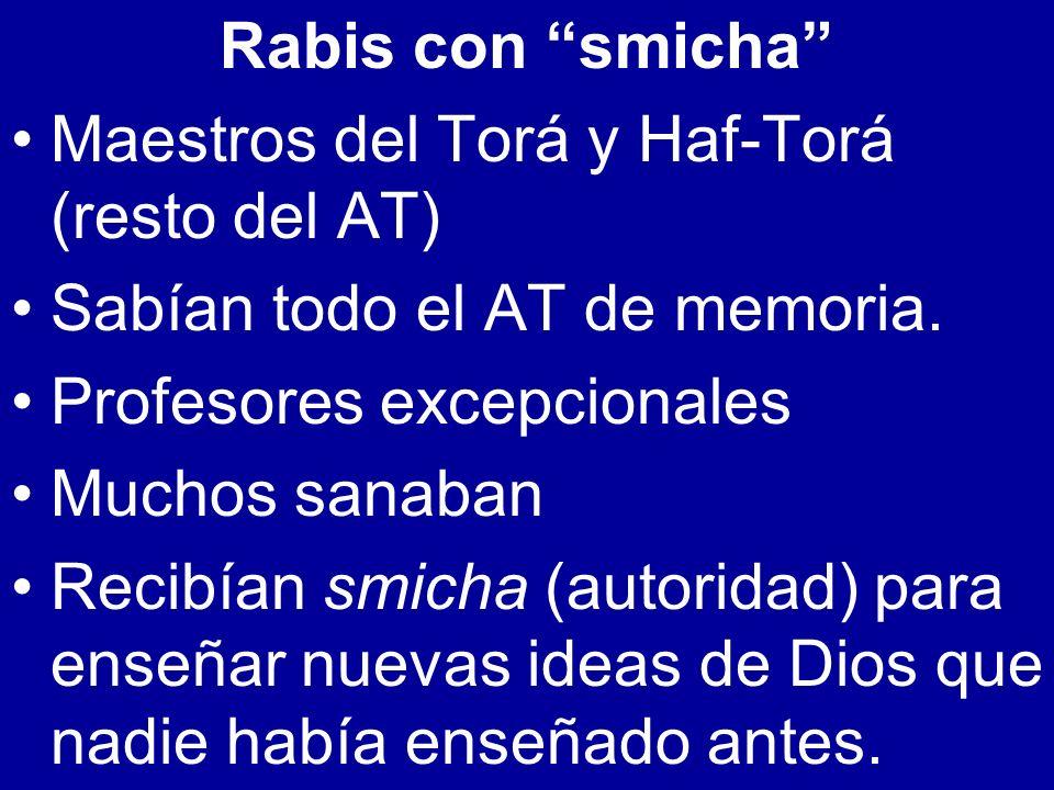 Rabis con smicha Maestros del Torá y Haf-Torá (resto del AT) Sabían todo el AT de memoria. Profesores excepcionales Muchos sanaban Recibían smicha (au