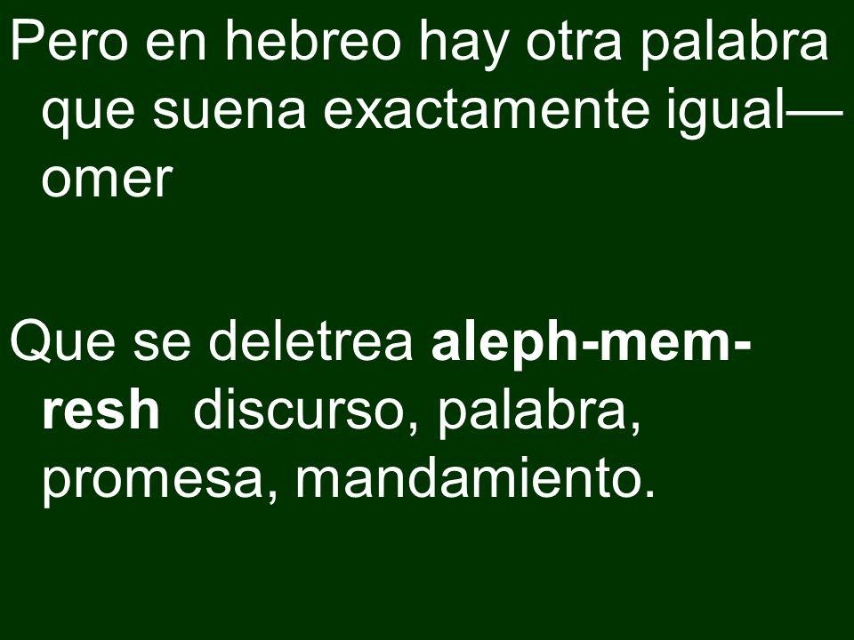 Pero en hebreo hay otra palabra que suena exactamente igual omer Que se deletrea aleph-mem- resh discurso, palabra, promesa, mandamiento.