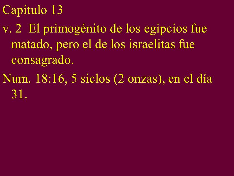 Capítulo 13 v. 2 El primogénito de los egipcios fue matado, pero el de los israelitas fue consagrado. Num. 18:16, 5 siclos (2 onzas), en el día 31.
