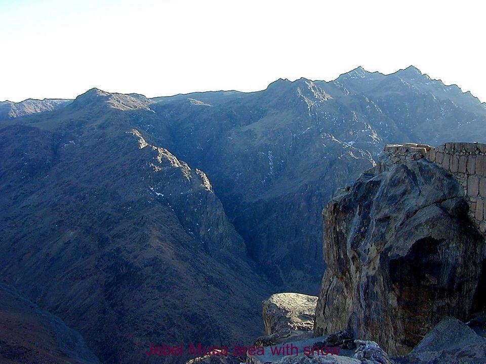 Jebel Musa area with snow