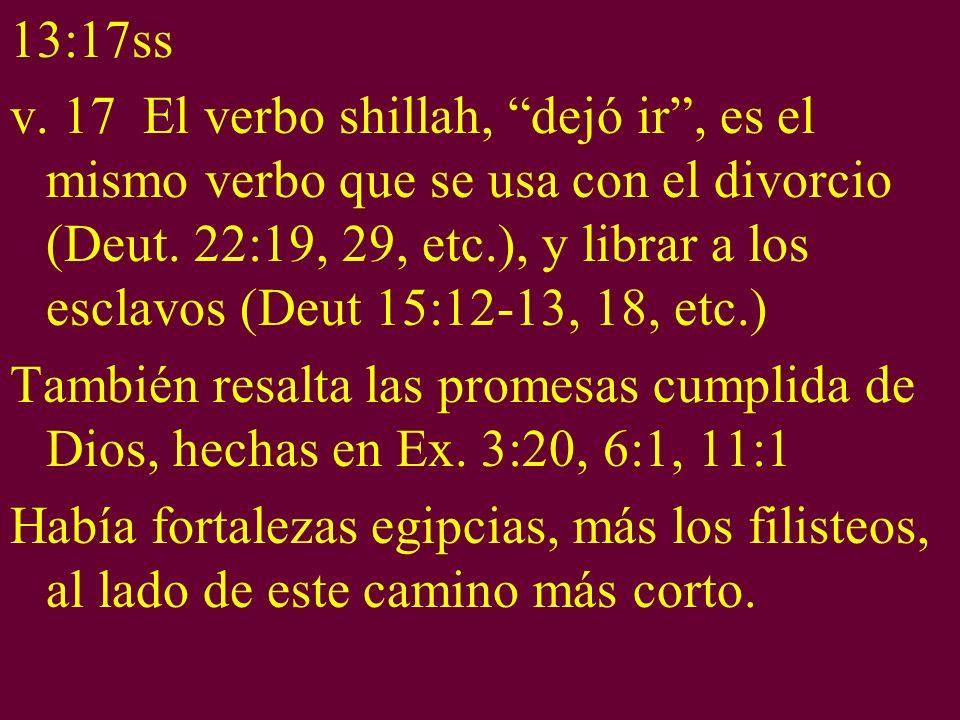 13:17ss v. 17 El verbo shillah, dejó ir, es el mismo verbo que se usa con el divorcio (Deut. 22:19, 29, etc.), y librar a los esclavos (Deut 15:12-13,