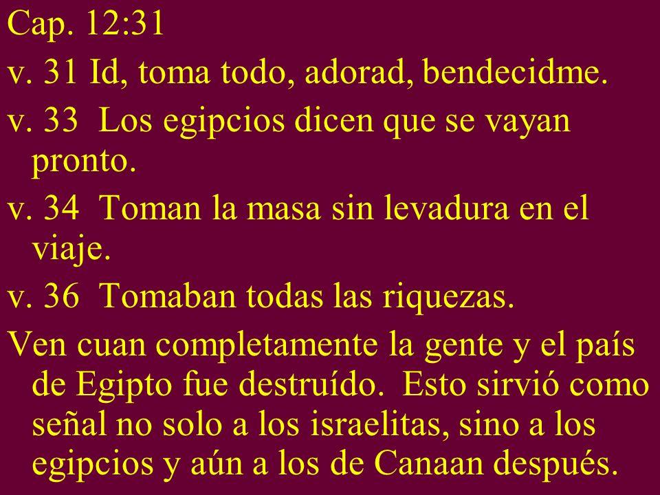Cap. 12:31 v. 31 Id, toma todo, adorad, bendecidme. v. 33 Los egipcios dicen que se vayan pronto. v. 34 Toman la masa sin levadura en el viaje. v. 36