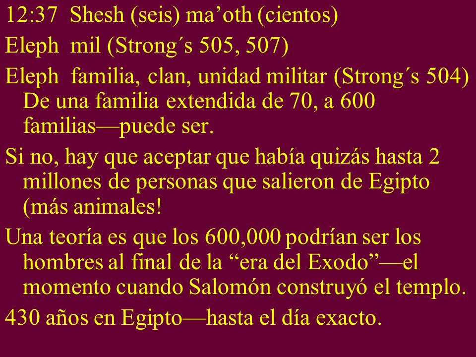 12:37 Shesh (seis) maoth (cientos) Eleph mil (Strong´s 505, 507) Eleph familia, clan, unidad militar (Strong´s 504) De una familia extendida de 70, a