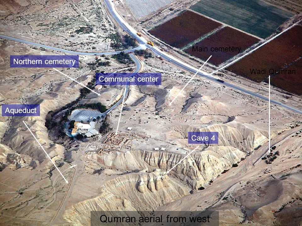 Qumran aerial from west Northern cemetery Main cemetery Aqueduct Cave 4 Wadi Qumran Communal center