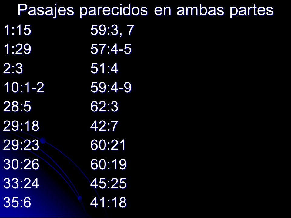 Pasajes parecidos en ambas partes 1:1559:3, 7 1:2957:4-5 2:351:4 10:1-259:4-9 28:562:3 29:1842:7 29:2360:21 30:2660:19 33:2445:25 35:641:18