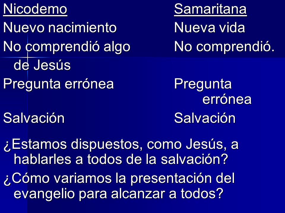 NicodemoSamaritana Nuevo nacimientoNueva vida No comprendió algo No comprendió. de Jesús Pregunta erróneaPregunta errónea SalvaciónSalvación ¿Estamos