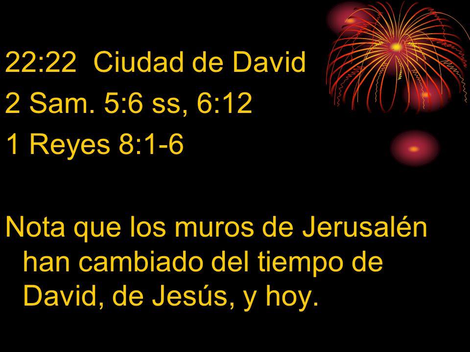 22:22 Ciudad de David 2 Sam. 5:6 ss, 6:12 1 Reyes 8:1-6 Nota que los muros de Jerusalén han cambiado del tiempo de David, de Jesús, y hoy.