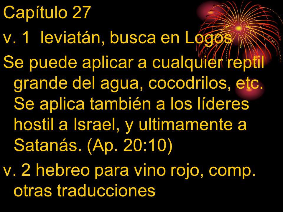 Capítulo 27 v. 1 leviatán, busca en Logos Se puede aplicar a cualquier reptil grande del agua, cocodrilos, etc. Se aplica también a los líderes hostil