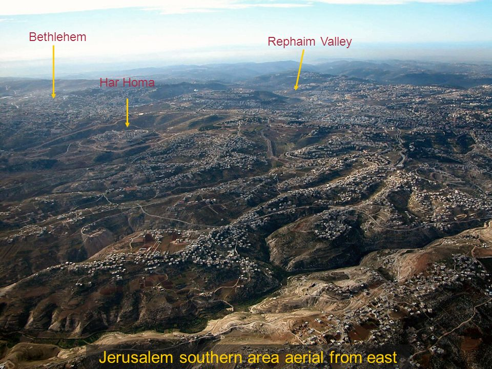 Jerusalem aerial from southeast Hinnom Valley Modern Mt. Zion