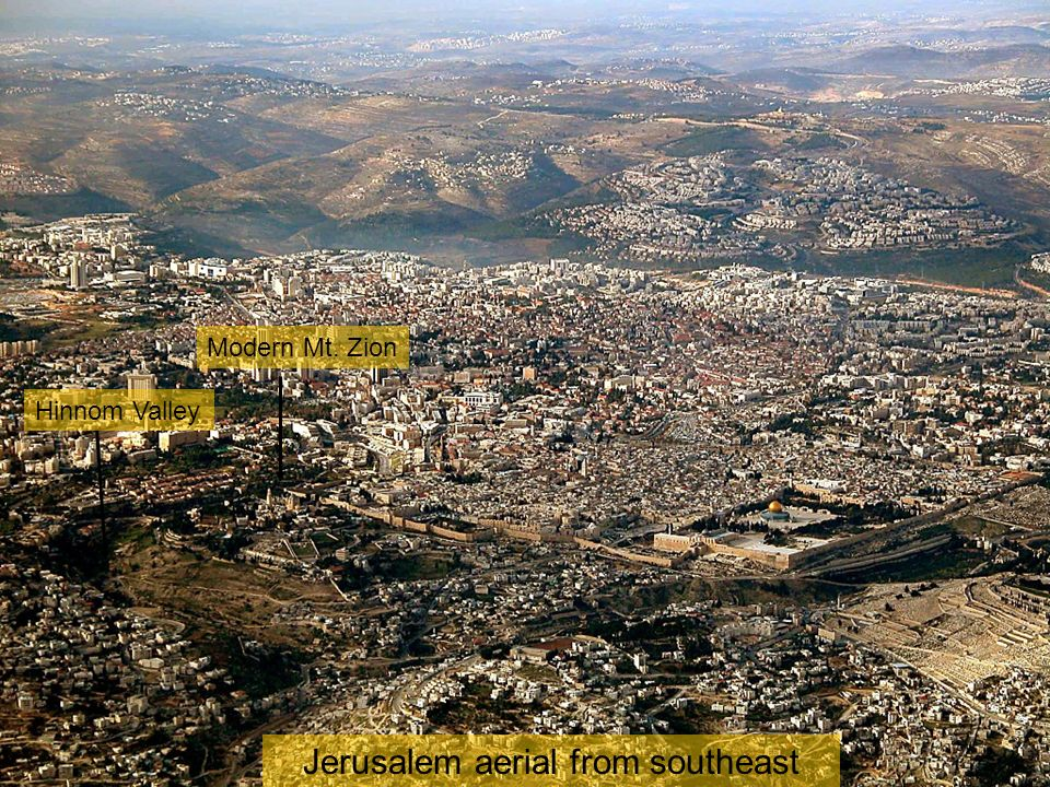 Temple Mount and City of David aerial from sw close-up Pool of Siloam Tomb of David.