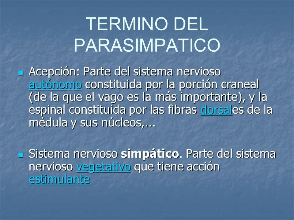 TERMINO DEL PARASIMPATICO Acepción: Parte del sistema nervioso autónomo constituida por la porción craneal (de la que el vago es la más importante), y