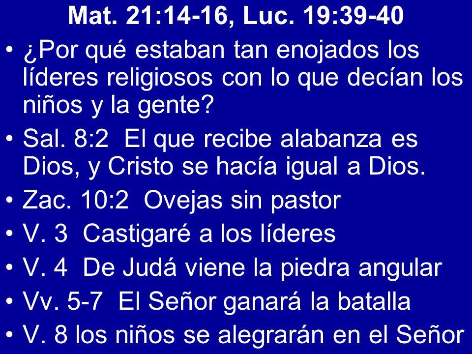 Mat. 21:14-16, Luc. 19:39-40 ¿Por qué estaban tan enojados los líderes religiosos con lo que decían los niños y la gente? Sal. 8:2 El que recibe alaba