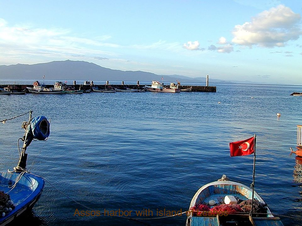 Assos harbor with island of Lesbos