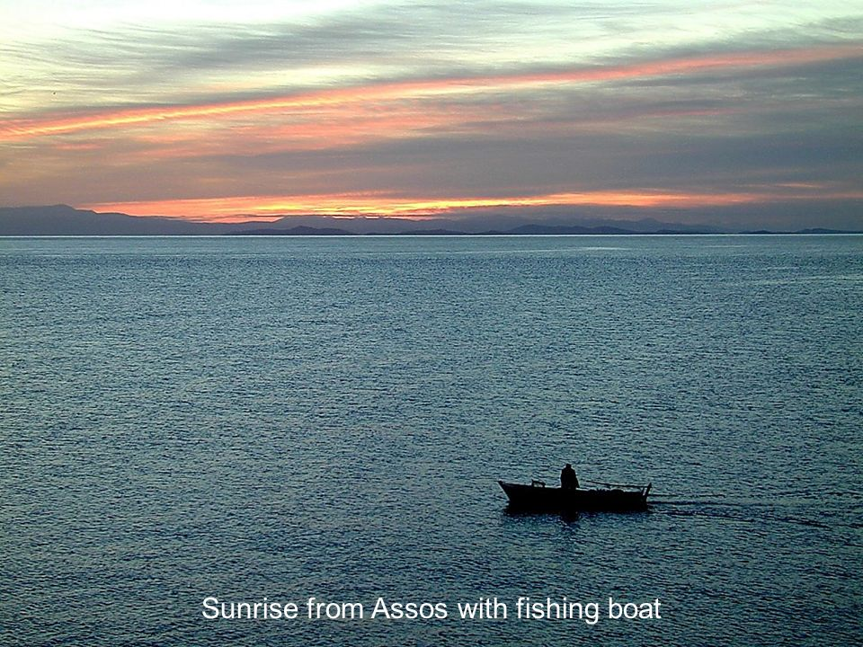 Sunrise from Assos with fishing boat