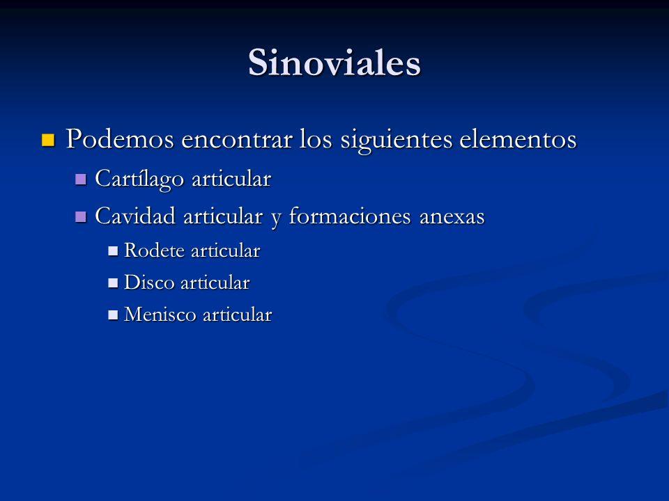 Sinoviales Podemos encontrar los siguientes elementos Podemos encontrar los siguientes elementos Cartílago articular Cartílago articular Cavidad artic