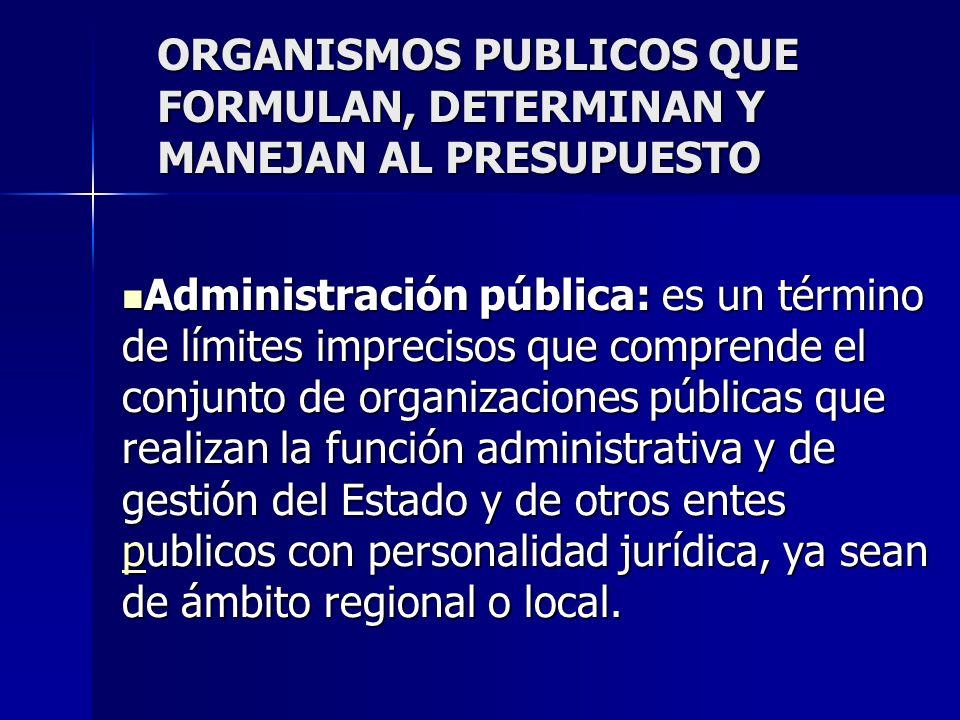 ORGANISMOS PUBLICOS QUE FORMULAN, DETERMINAN Y MANEJAN AL PRESUPUESTO Administración pública: es un término de límites imprecisos que comprende el con