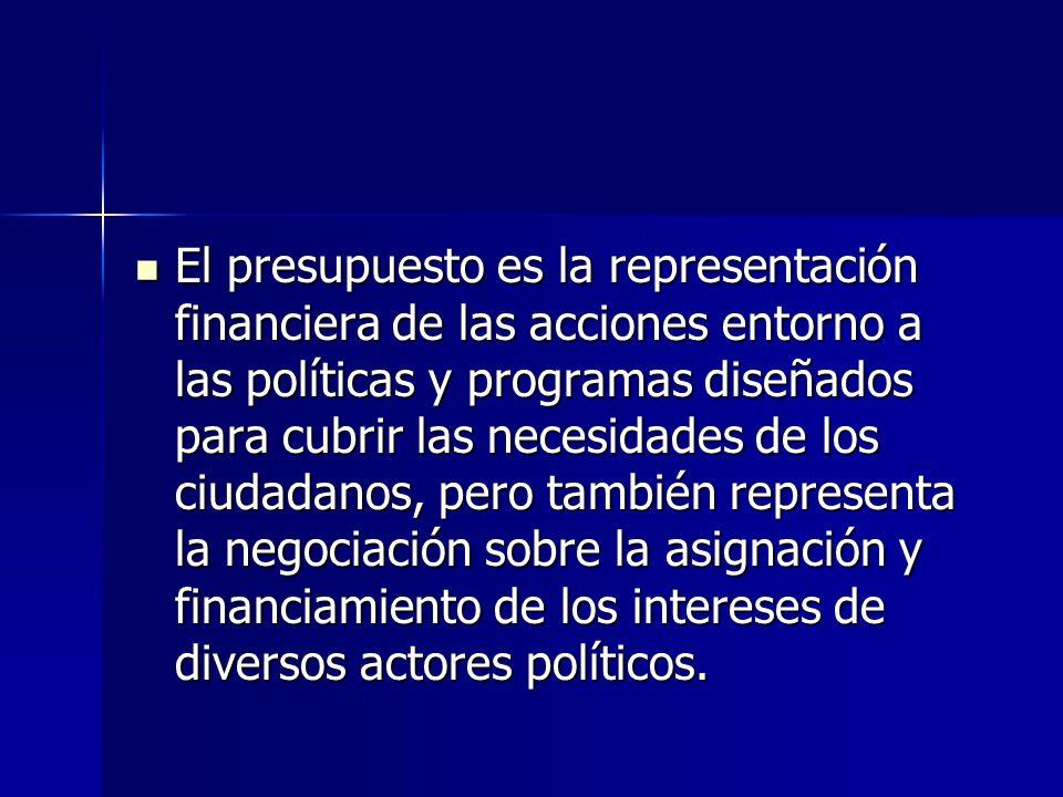 El presupuesto es la representación financiera de las acciones entorno a las políticas y programas diseñados para cubrir las necesidades de los ciudad