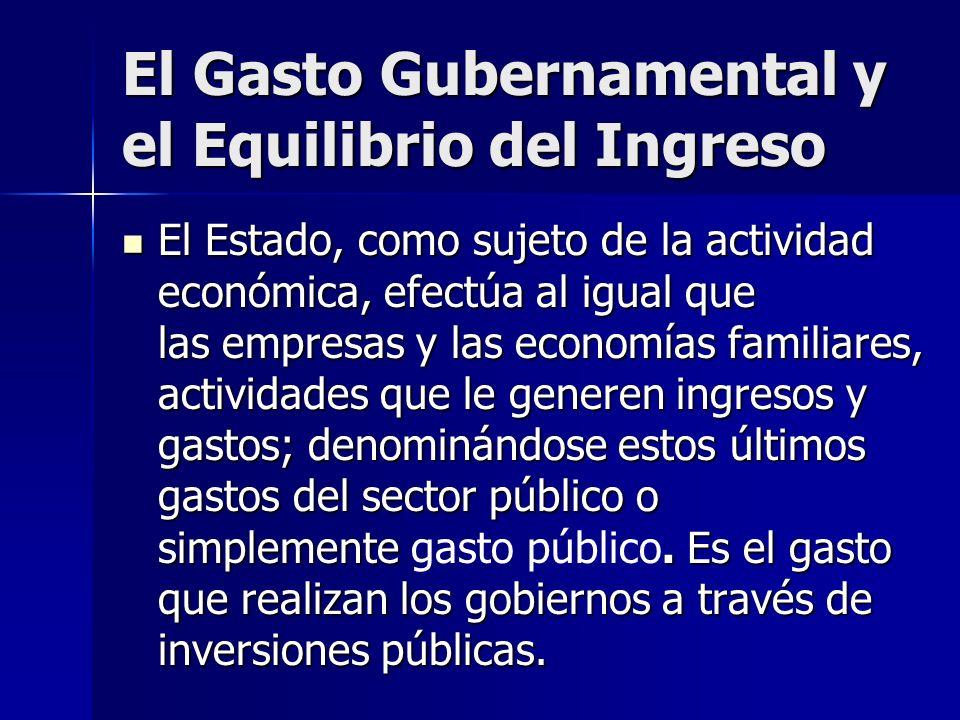 El Gasto Gubernamental y el Equilibrio del Ingreso El Estado, como sujeto de la actividad económica, efectúa al igual que las empresas y las economías