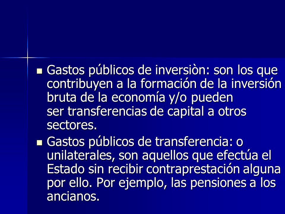 Gastos públicos de inversiòn: son los que contribuyen a la formación de la inversión bruta de la economía y/o pueden ser transferencias de capital a o