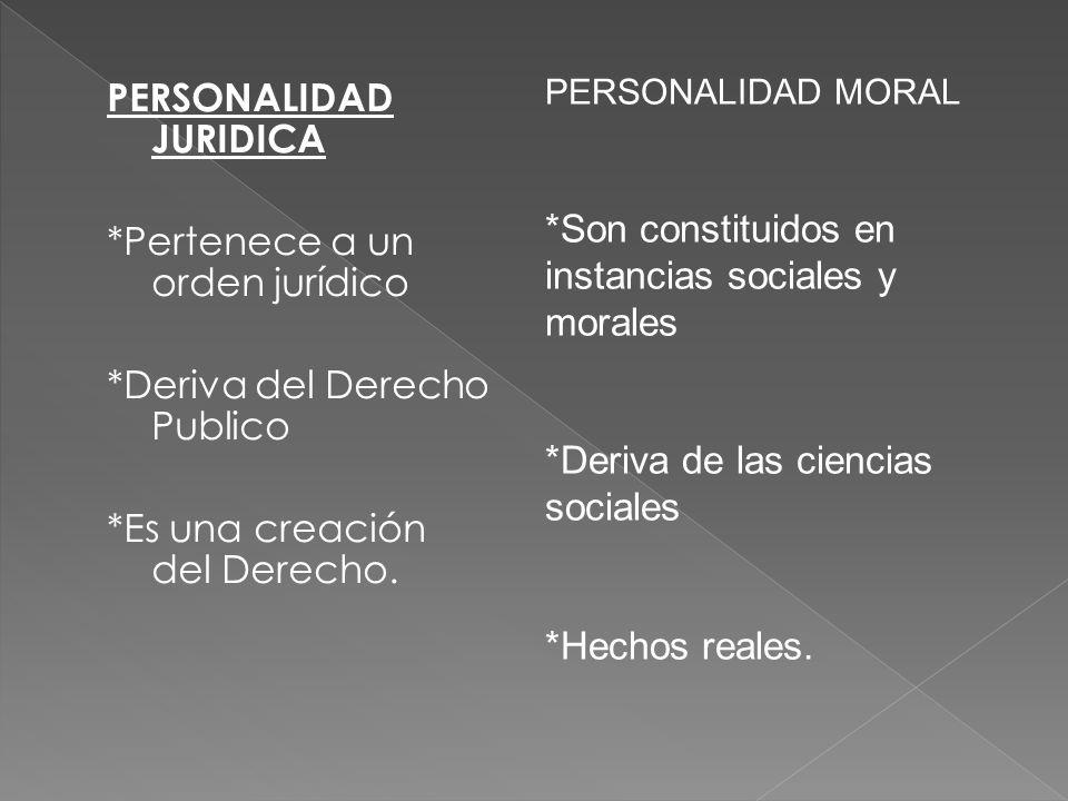 PERSONALIDAD JURIDICA *Pertenece a un orden jurídico *Deriva del Derecho Publico *Es una creación del Derecho. PERSONALIDAD MORAL *Son constituidos en