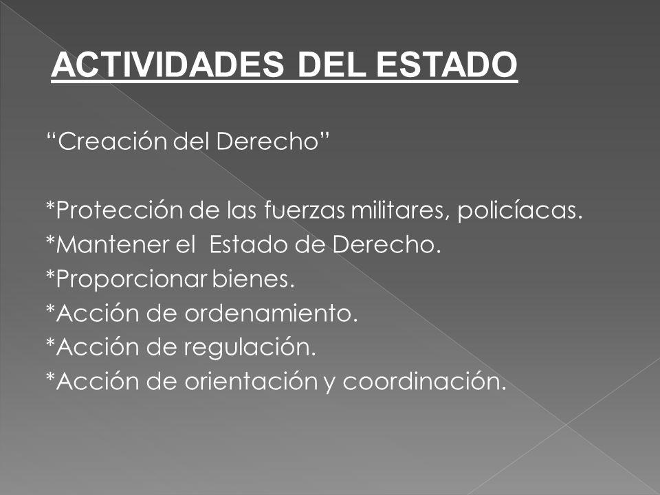 Creación del Derecho *Protección de las fuerzas militares, policíacas.