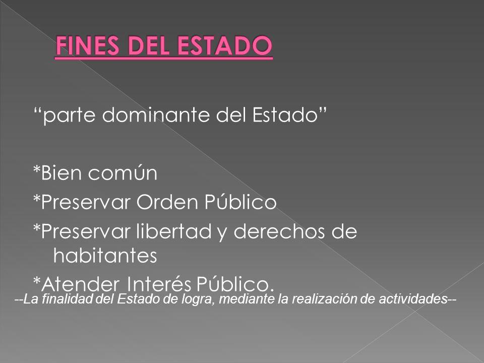 parte dominante del Estado *Bien común *Preservar Orden Público *Preservar libertad y derechos de habitantes *Atender Interés Público. --La finalidad