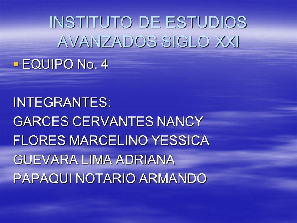 INSTITUTO DE ESTUDIOS AVANZADOS SIGLO XXI EQUIPO No. 4 EQUIPO No. 4INTEGRANTES: GARCES CERVANTES NANCY FLORES MARCELINO YESSICA GUEVARA LIMA ADRIANA P