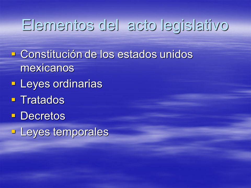 Elementos del acto legislativo Constitución de los estados unidos mexicanos Constitución de los estados unidos mexicanos Leyes ordinarias Leyes ordina