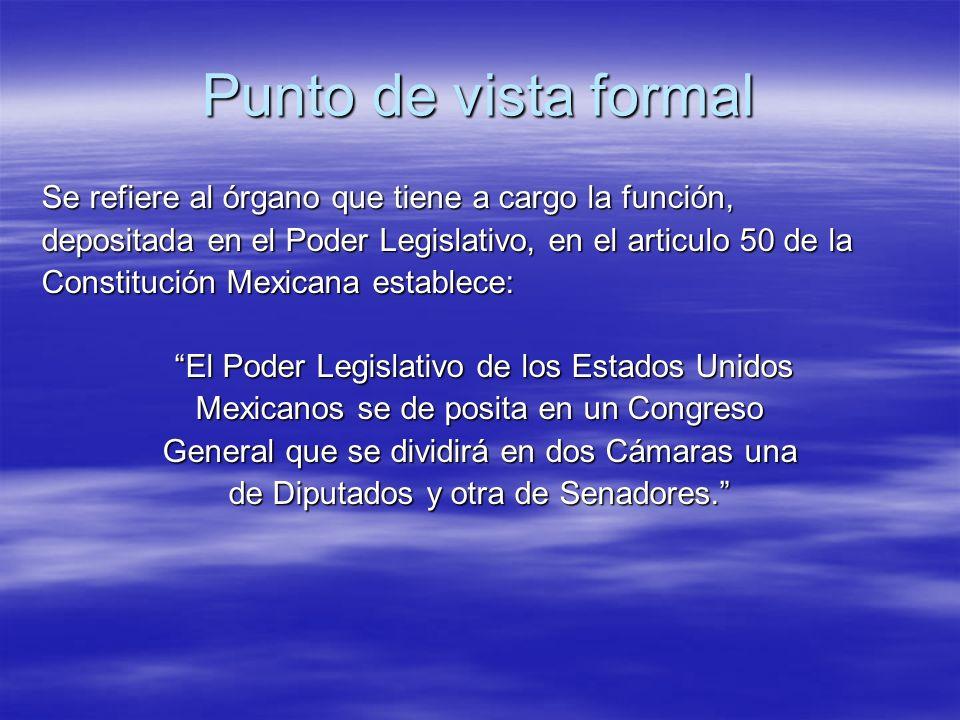 Punto de vista formal Se refiere al órgano que tiene a cargo la función, depositada en el Poder Legislativo, en el articulo 50 de la Constitución Mexi