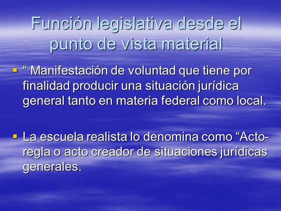 Función legislativa desde el punto de vista material Manifestación de voluntad que tiene por finalidad producir una situación jurídica general tanto e