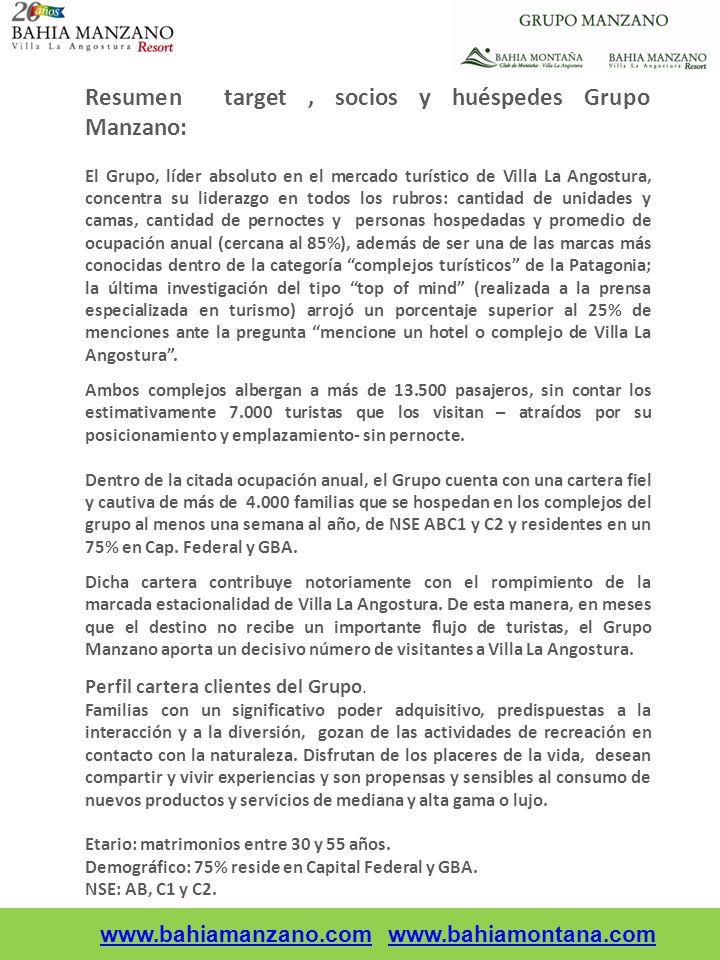 Resumen target, socios y huéspedes Grupo Manzano: El Grupo, líder absoluto en el mercado turístico de Villa La Angostura, concentra su liderazgo en to
