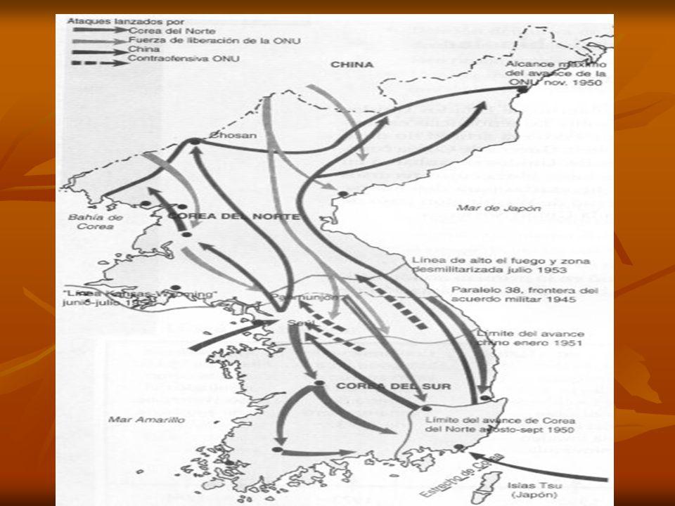 Reacción Occidental El gobierno de Estados Unidos tuvo una reacción inmediata ante la agresión, por la amenaza que ésta representaba para las posesiones de este país en el Lejano Oriente, y el mismo día 25 el presidente Truman ordenó al general MacArthur que proporcionara a Corea del Sur la ayuda necesaria y la debida protección militar.