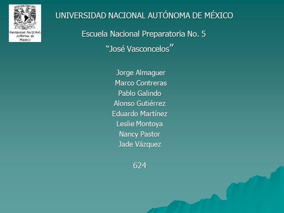 UNIVERSIDAD NACIONAL AUTÓNOMA DE MÉXICO UNIVERSIDAD NACIONAL AUTÓNOMA DE MÉXICO Escuela Nacional Preparatoria No. 5 Escuela Nacional Preparatoria No.