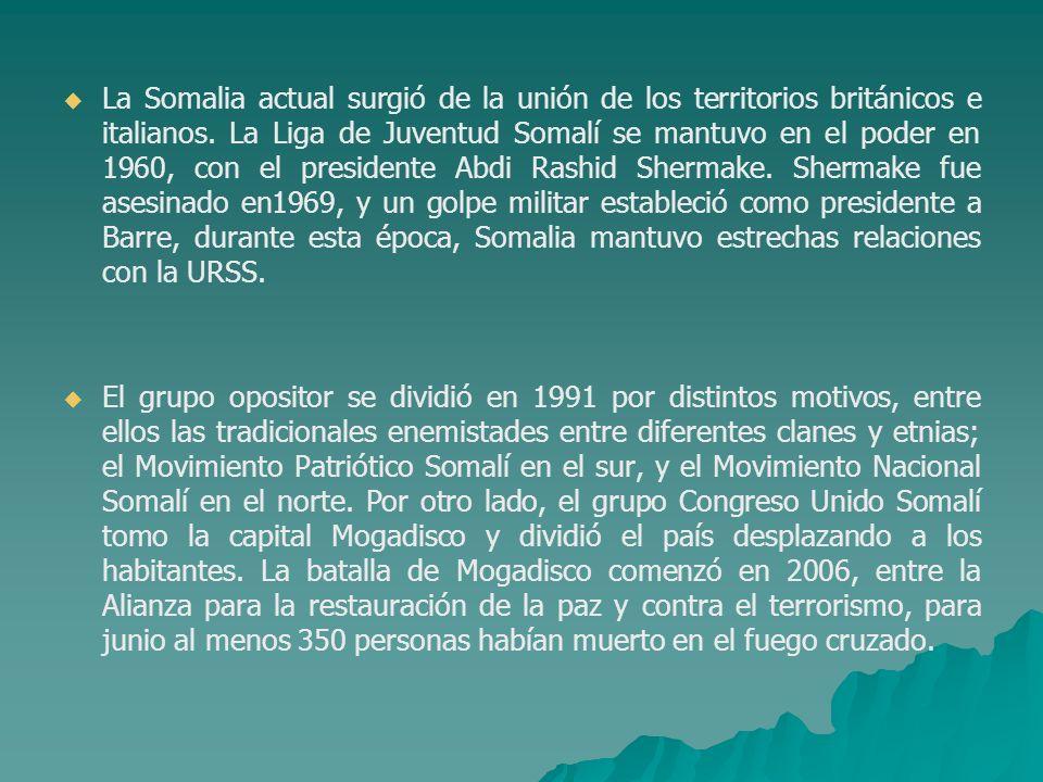 La Somalia actual surgió de la unión de los territorios británicos e italianos. La Liga de Juventud Somalí se mantuvo en el poder en 1960, con el pres