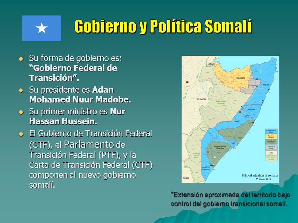 Su forma de gobierno es: Gobierno Federal de Transición. Su forma de gobierno es: Gobierno Federal de Transición. Su presidente es Adan Mohamed Nuur M