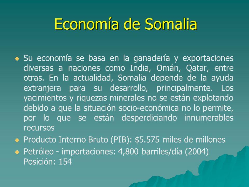 Economía de Somalia Su economía se basa en la ganadería y exportaciones diversas a naciones como India, Omán, Qatar, entre otras. En la actualidad, So