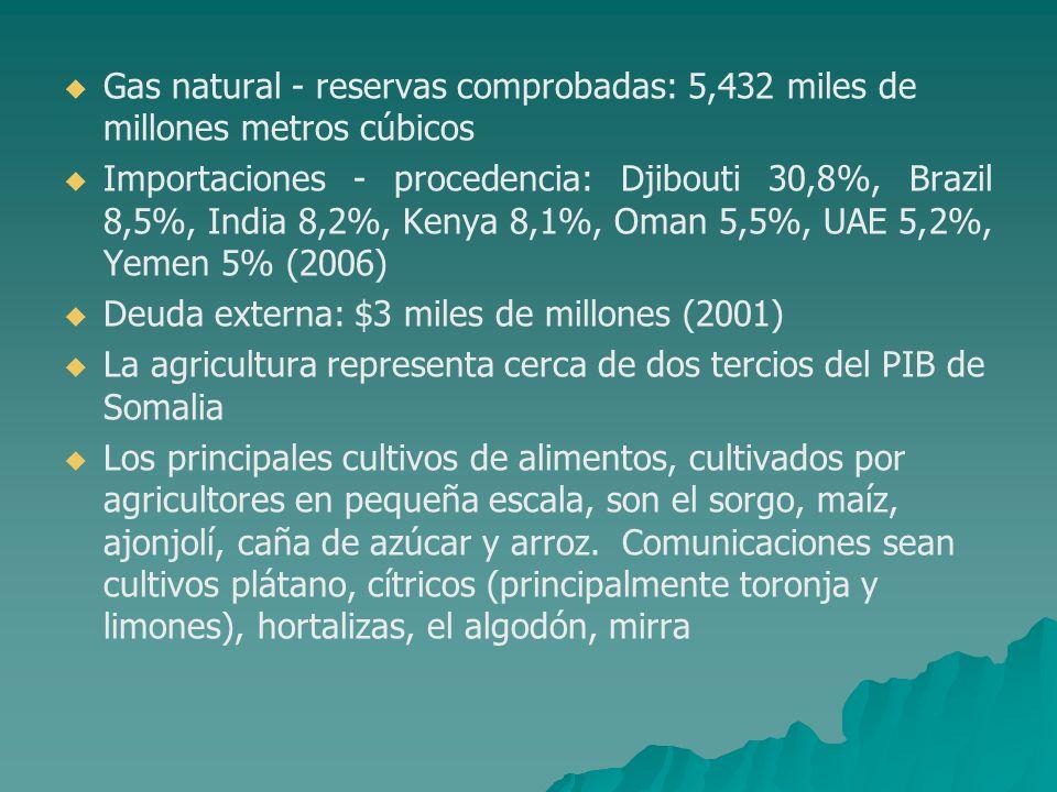 Gas natural - reservas comprobadas: 5,432 miles de millones metros cúbicos Importaciones - procedencia: Djibouti 30,8%, Brazil 8,5%, India 8,2%, Kenya
