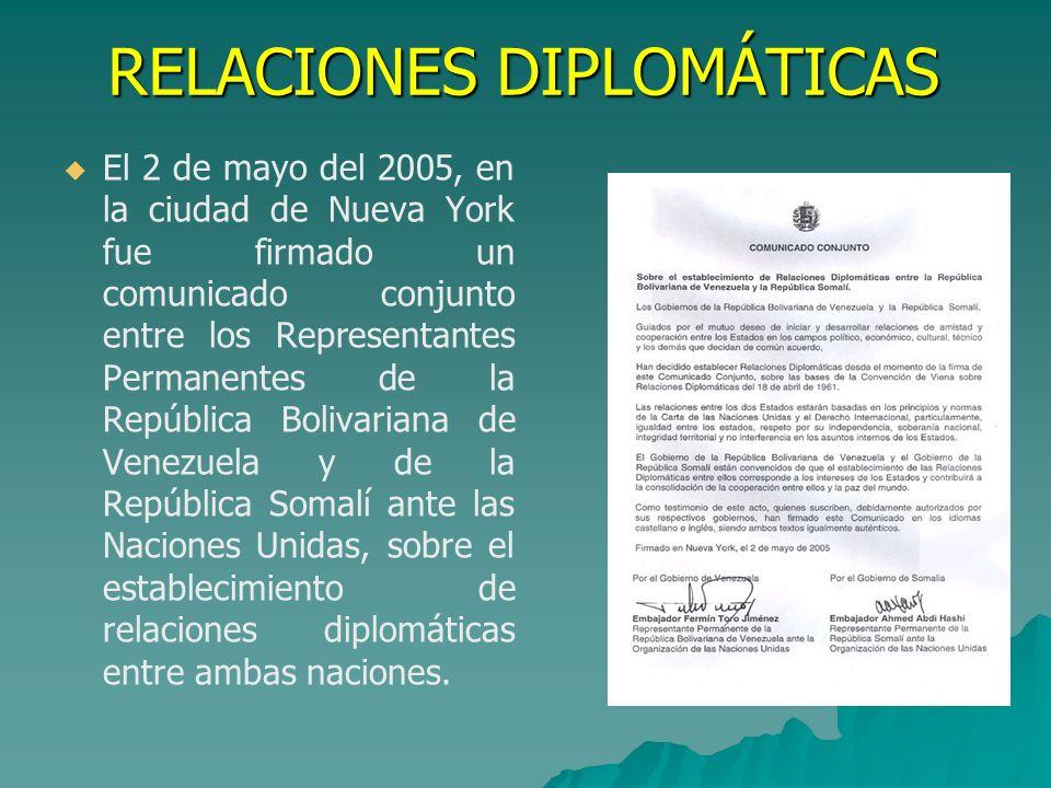 RELACIONES DIPLOMÁTICAS El 2 de mayo del 2005, en la ciudad de Nueva York fue firmado un comunicado conjunto entre los Representantes Permanentes de l