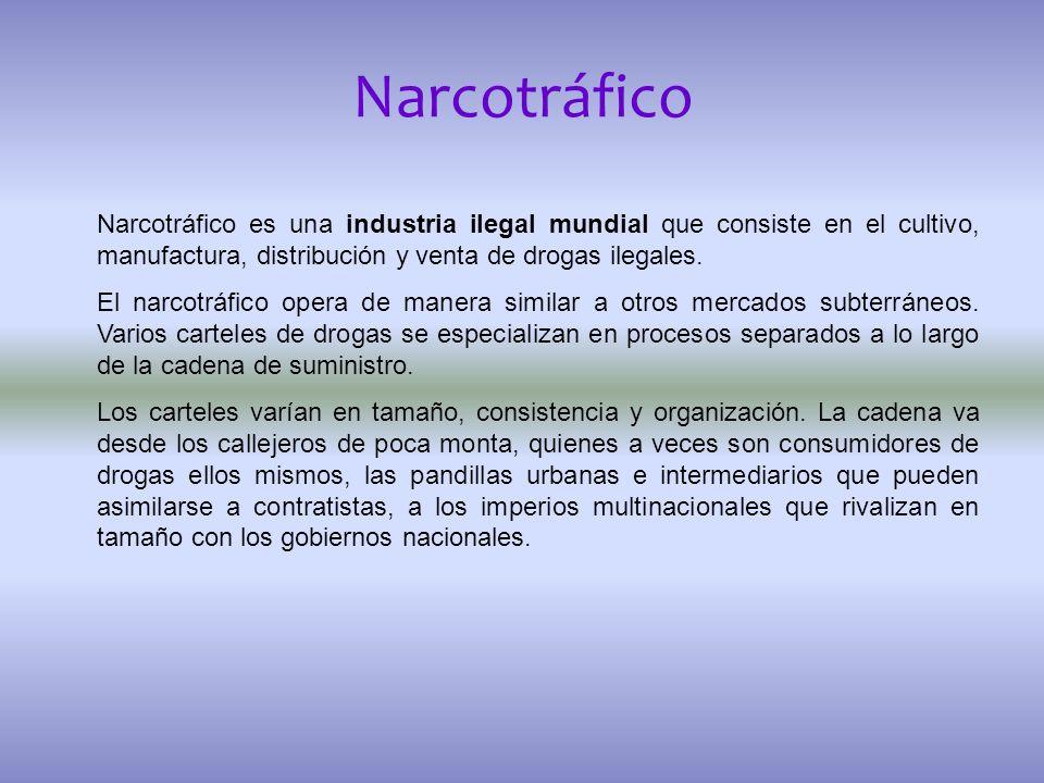 Narcotráfico Narcotráfico es una industria ilegal mundial que consiste en el cultivo, manufactura, distribución y venta de drogas ilegales. El narcotr