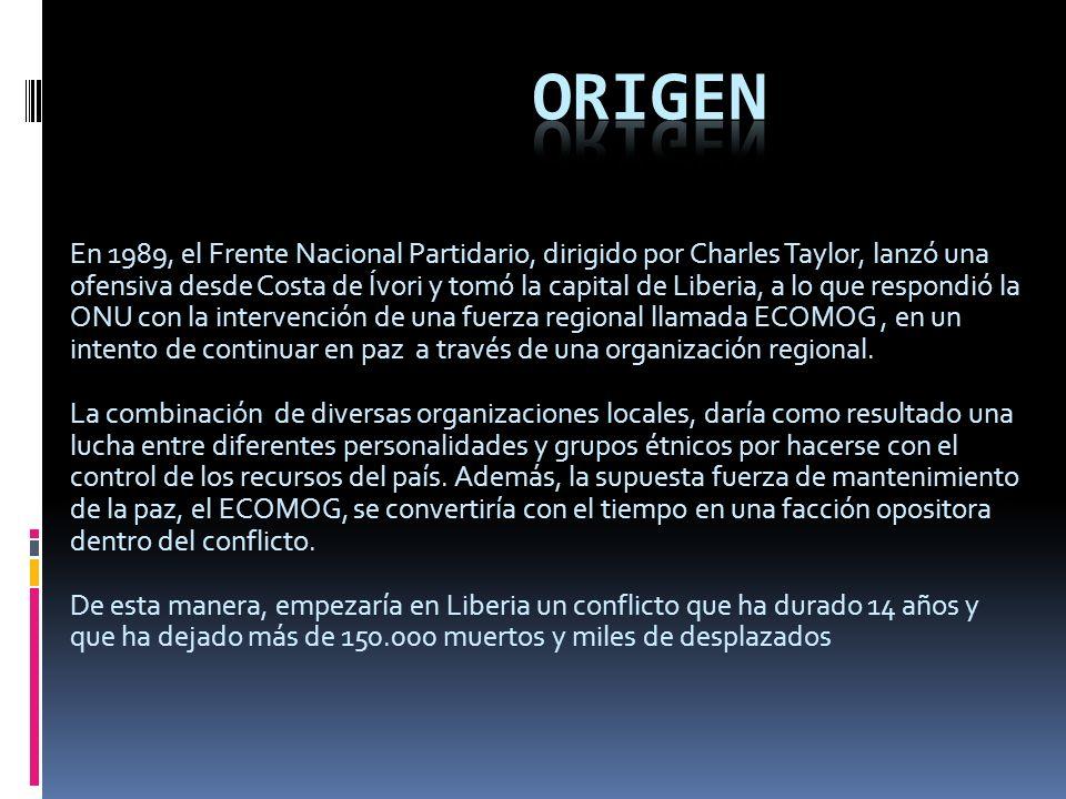 En 1989, el Frente Nacional Partidario, dirigido por Charles Taylor, lanzó una ofensiva desde Costa de Ívori y tomó la capital de Liberia, a lo que respondió la ONU con la intervención de una fuerza regional llamada ECOMOG, en un intento de continuar en paz a través de una organización regional.