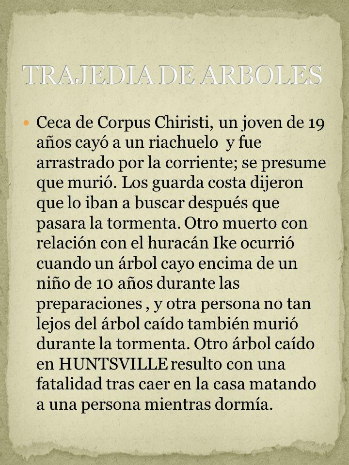 Ceca de Corpus Chiristi, un joven de 19 años cayó a un riachuelo y fue arrastrado por la corriente; se presume que murió. Los guarda costa dijeron que