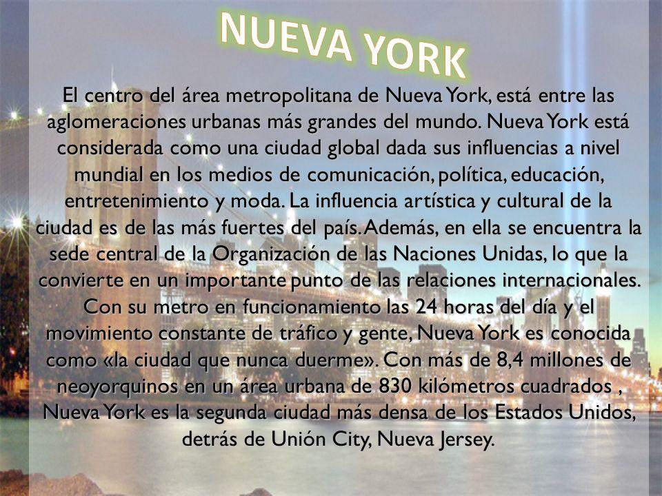 El centro del área metropolitana de Nueva York, está entre las aglomeraciones urbanas más grandes del mundo. Nueva York está considerada como una ciud