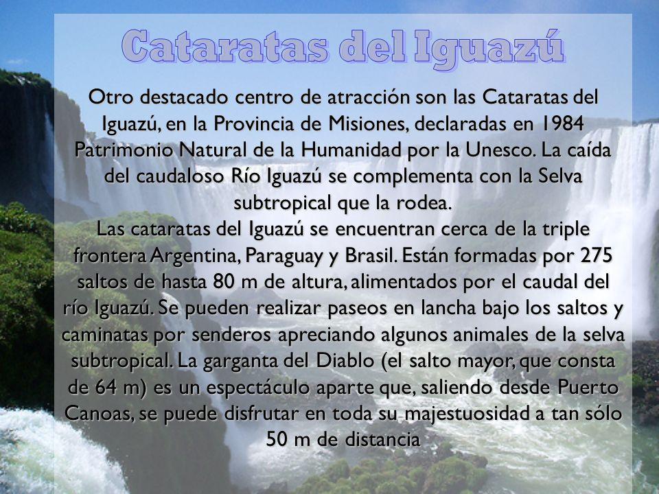 Otro destacado centro de atracción son las Cataratas del Iguazú, en la Provincia de Misiones, declaradas en 1984 Patrimonio Natural de la Humanidad po